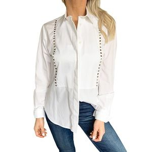 Valentino Rockstud Cotton Poplin Blouse in White